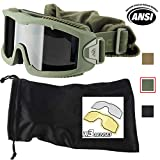 Lancer Tactical AERO 3mm Thick Dual Pane Lens Eye Protection Safety Goggle System ANSI Z87 1 Rated Industry Standard Panel Ventilated w/Anti-Scratch Shield Fully Adjustable (OD Green / 3 Lens)