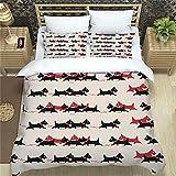 EA-SDN Ropa de cama de 135 x 200 cm, funda nórdica con estampado 3D + 2 fundas de almohada de 80 x 80 cm, microfibra, adecuado para la decoración de habitaciones (perro, 220 x 240)