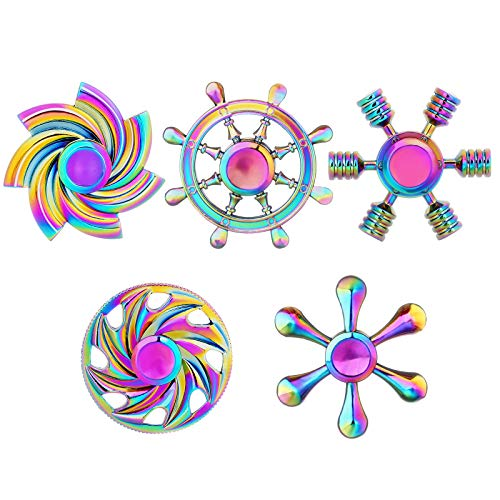 SCIONE Fidget Spinner Metal 5 Pack Stainless Steel Bearing 3-5 Min High Speed Stress Relief Spin ADHD Anxiety Toys for Adult Kid Autism Fidgets Best EDC Hand Spinners Finger Toy Focus Fidgeting