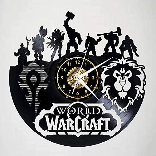 World of Warcraft Schallplatte Wanduhr Led Leuchtende Silhouette Rekord Handgefertigte Kunst Schlafzimmer Dekor Geschenk Mit Led Licht 12 Zoll
