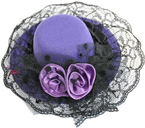 Unbekannt Edler PURPLE Burlesque ROSES Tüll Zylinder Rosen Satin Hut Haarspange - Lila
