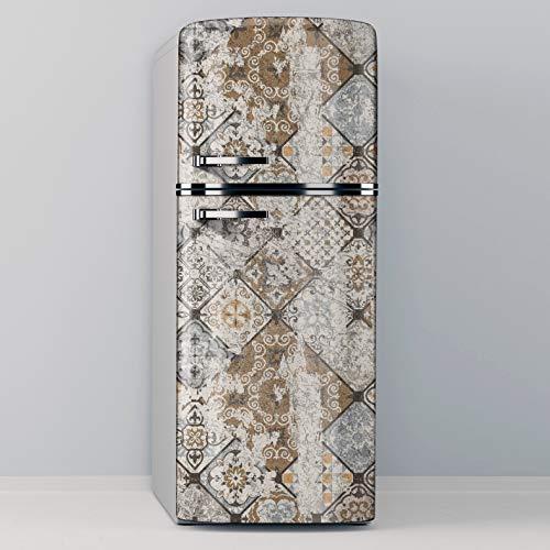 Vinilo Adhesivo Decorativo para Nevera, Especial Libre De Burbujas, Vintage Worn Tiles (70x185cm)
