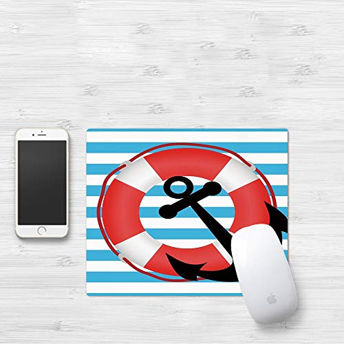 Mauspad mit genähten Kanten,Anker, blau gestreifte Kulisse mit Rettungsring und Anker an Bord Reiseschutz,rutschfeste Gummi-Basis-Mousepad, Gaming und Office mauspad für Laptop, Computer & PC320x250mm