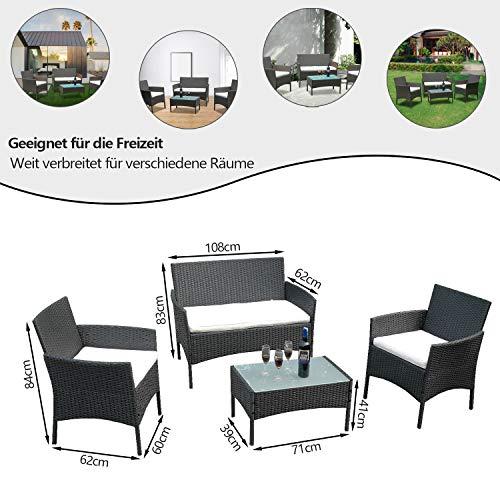VINGO Balkon Möbel Set Poly Rattan Gartenmöbel inkl. 2er Sofa, Singlestühle, Tisch und Sitzkissen Hochwertige Sitzgruppe Schwarz für Garten Terrasse - 4