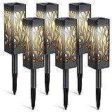 Luces de jardín LED de energía solar de 6 piezas, luces de camino solar automáticas al aire libre, luces de jardín solares impermeables IP65 para entrada(Luz cálida)