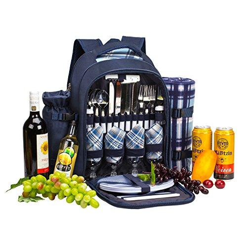 *apollo walker Picknickrucksack 4 Personen Hamper Kühltasche mit Geschirr Set & Decke*