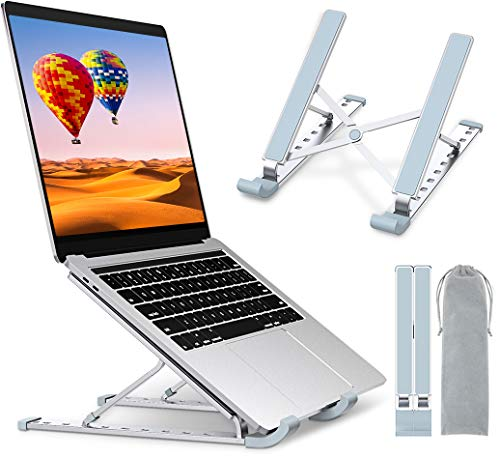 """TEUMI Laptop Stand Adjustable 9-Levels Height, Aluminum Portable Ergonomic Computer Stand Cooling Pad, Ventilated Laptop Riser Compatible with MacBook Pro Air, Notebook, Lenovo, Dell, 10-15.6"""" Device"""