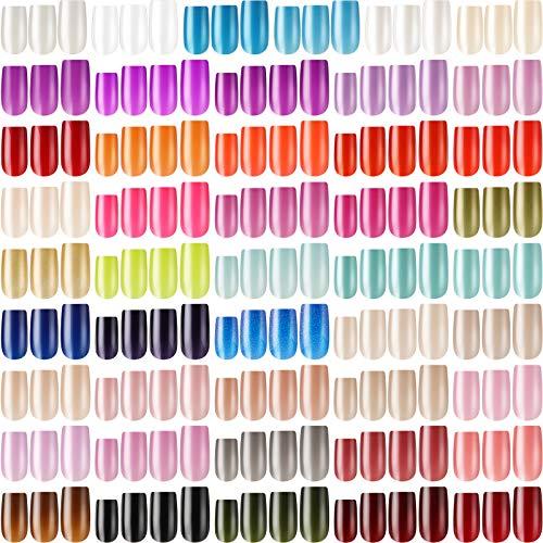 1128 Stücke 47 Sets Mittler Quadrat Aufdrücken Nägel Fingernägel Glänzender Falsch Nagel Künstlicher Gefälscht Nagel Vollabdeckung Bunt Acryl Nagelspitzen Kit (Helle Farbe)