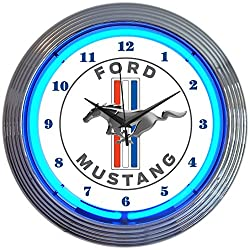 Neonetics Ford Mustang Blue Neon Wall Clock, 15