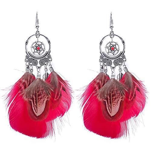 bjyxszd Cierre Presión Hipoalergénicas,Dream Catcher Pendientes Colorida Peacock Peather Peather Petro Ethnic Pendientes Femeninos-Rojo