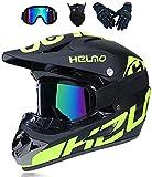 Casco de moto / casco de motocross / casco completo Downhill para niños jóvenes Offroad moto cross casco con visera gafas máscara guantes / hombre & mujer bicicleta de montaña BMX MTB (56 – 57 cm)