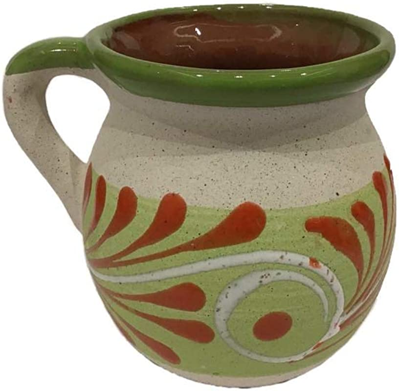 Ceramic Clay Mug Mexican Jarrito Coffee Tee And Hot Beverages Handmade Office And House Men And Women Green