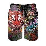 Tentenentent Tiger Graffiti - Pantalón corto para hombre blanco 6XL