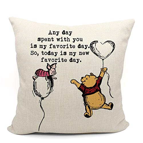 Winnie The Pooh and Piglet Friendship Throw Pillow Case, Gifts for Daughter, Son, Granddaughter, Grandson, Niece, Children Room Decor, 18 x 18 Inch Linen Winnie Cushion Cover for Sofa Couch Bed