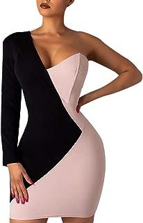 KAIXLIONLY Women's Work Pencil Dress V Neck Colorblock One Shoulder Irregular Slim Sexy Bodycon Business Mini Dress
