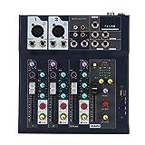 Mezclador de audio profesional Tablero de sonido, 4 canales LED de 5 segmentos Medidor de nivel...