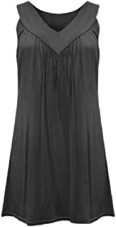 YYG Women's V Neck Tank Solid Color Sleeveless Plus Size Tank Top Cami Blouse Shirt