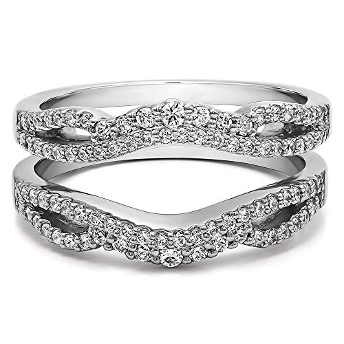 TwoBirch 0.57 Ct. Double Infinity Wedding Ring Guard Enhancer in Sterling Silver with Cubic Zirconia (Size 6)