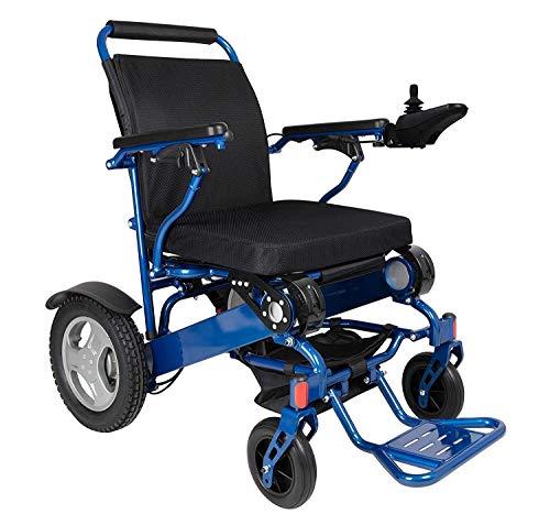 BDFA Pieghevole Sedia a rotelle motorizzata Electric Power Sedia a rotelle - Leggero e Resistente - Supporta 400 lb (Blu)