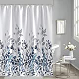 Floral Shower Curtain, 72-Inch Watercolor Teal and Blue Shower Curtain Set, Vintage Flower Ivy Bathroom Accessories Decor, 12 Hooks Included, Heavy Weighted Waterproof Polyester Fabric Bath Curtain