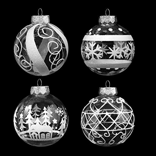"Joiedomi 12 Pcs 3.15"" White & Clear Christmas Ball Ornaments Fancy Premium Ornaments Set for Christmas Holiday Indoor and Outdoor Christmas Decorations"