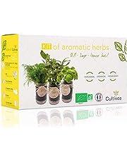 Cultivea - Aromatische Kruidenkweekkit - Franse zaden 100% ecologisch en biologisch - Groentetuin binnenshuis - Plant (Basilicum, Peterselie en Bieslook) - Cadeau-idee