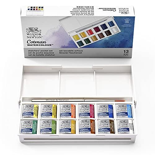Winsor & Newton Aquarela Cotman, Sketchers' Pocket Box, 12 Cores, 14 Peças