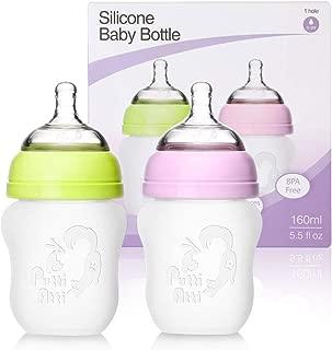 Putti Atti Silicone Baby Twin Bottle, BPA Free, 5.5 fl oz [Green and Pink]