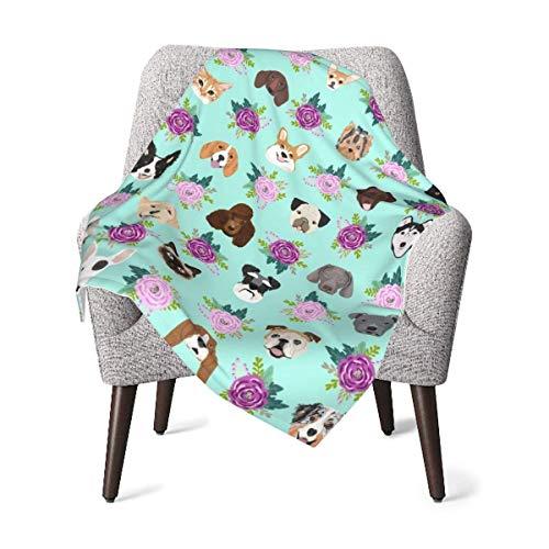 Hdadwy Manta para niños, perros y gatos, amigable con las mascotas, floral, amante de los animales, manta de bebé, manta suave de felpa para niños y niñas, manta de recepción de 30 x 40 pulgadas
