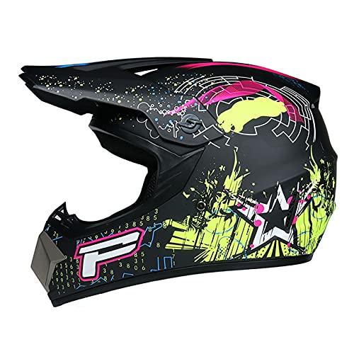 LGLE Conjunto de 4 piezas de casco de motocross para jóvenes con máscara a prueba de viento, guantes de protección para motocicleta, ATV Dirt Bike Crash, estándar de certificación DOT, B, M