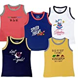 TotzTouch Baby Boy's Kids Sleeveless Cotton Tee Shirt Printed Multi Color Pack of 5 (Multi Color, 2 to 3 Years)