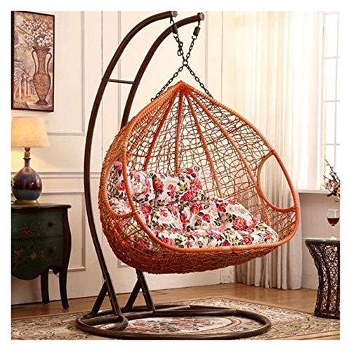 BDBT Swing Chair Cushion Hanging Egg Hammock Chair Pads, Without Stand Multi Color Swing Seat Cushion Thick Nest Hanging Chair Back with Pillow (Color : A)