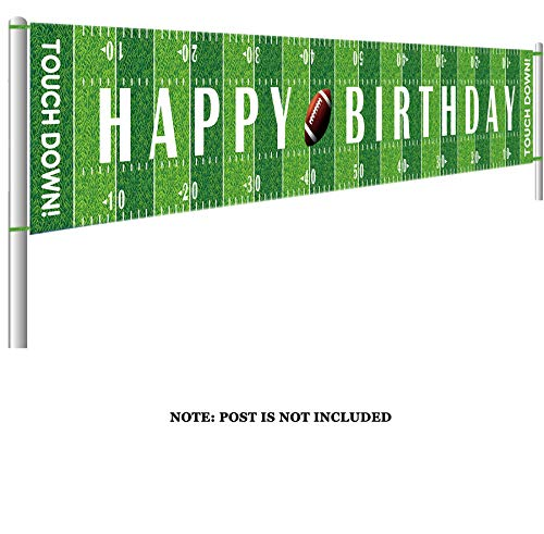 Colormoon Large Football Happy Birthday Party Banner, Game Day Sports Party Decorations, Football Photo Backdrop Hanging Decorations(9.8 x 1.5 feet)