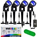 VivaColor Waterproof RGB 12w Color Changing Landscape Lights Bluetooth App Control, 48 Watts Total, Extra Long Cord, Built-in Timer, Programming, Music Sync, Mesh Capable(Complete 4 Light Set)