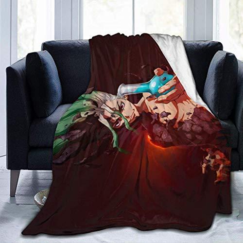 Dr. Stone Senku Manta para ventiladores, manta acogedora para sofá de coche, manta ultra suave, manta de franela impresa en 3D, para 150 x 150 cm