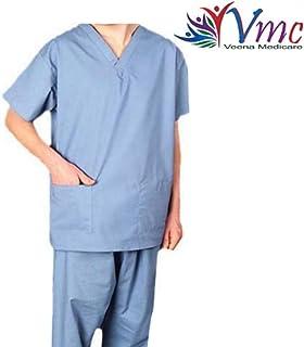 VMC V Neck Scrub Suit for Surgeons OT Dress (Blue, Large)
