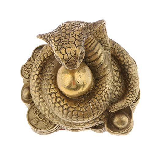 PETSOLA Latón Puro Chino Doce Zodiaco Animal Estatuilla Ornamento Suerte Amuleto - Serpiente