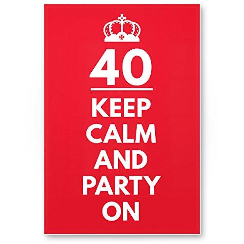Bedankt! 40 jaar Keep Calm Party on, kunststof bord - cadeau 40e verjaardag, cadeau-idee verjaardagscadeau viertigers, verjaardagsdeco/partydecoratie/feestaccessoires/verjaardagskaart