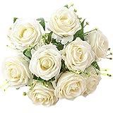 XONOR Soie Artificielle Fleurs Faux Bouquet De Fleurs De Demoiselle d'honneur De Mariée pour La Maison Jardin Décoration De Noce, 9 Têtes, 31cm (Blanc)