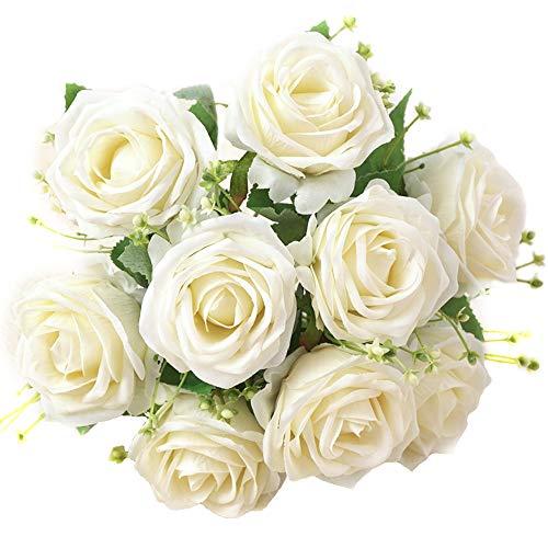 XONOR Rosas de Seda Artificial Flores Falso Nupcial Dama de Honor Ramo de Flores para la decoración del Banquete de Boda del jardín en casa, Cabeza 9, 31 cm (Blanco)