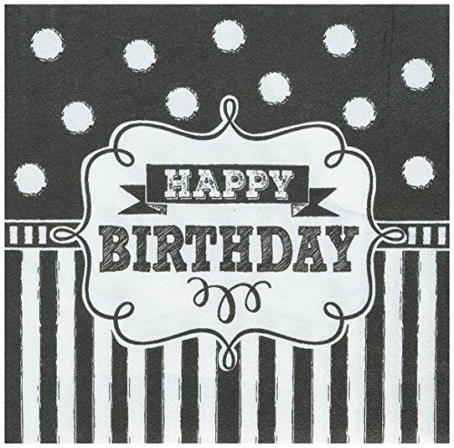 Amscan 501671 Verjaardag Drank Servetten, Zwart/Wit, 5