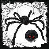 GoalDern Halloween Spider Decoration, 55 inch Giant Spider Decoration, Large Hairy Fake Spider Props, Scary Spider Halloween Decoration Indoor Outdoor Yard Patio House Party