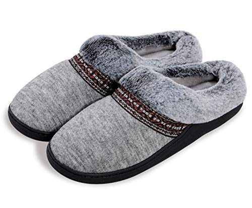 Harebell House Slippers for Women Fuzzy Memory Foam Slip-on Home Shoes Indoor Outdoor Bedroom Slippers Scuff with Fur Lining Grey 5-6 M