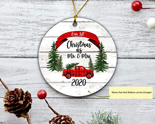 Christmas Ornament, Our First Christmas As Mr and Mrs Ornament, Christmas Ornament, Personalized Ornament, Christmas Tree Decoration, Two Side Printed Christmas Ornament