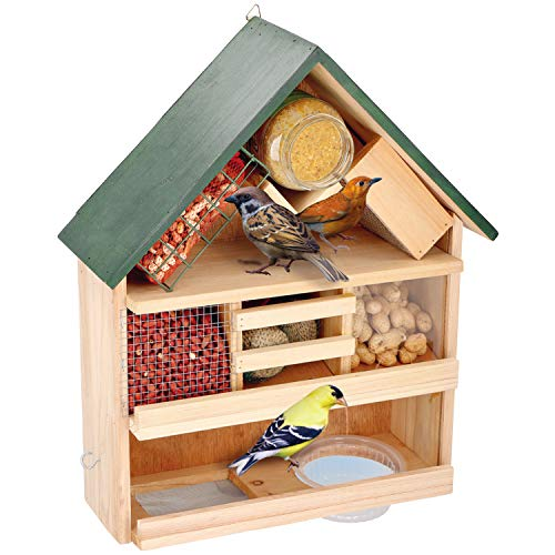 Multistore 2002 - Mangiatoia per uccelli da appendere, in legno, 39 x 13 x 44 cm, mangiatoia