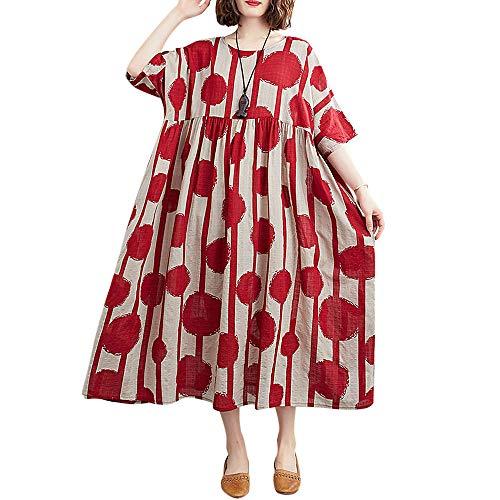Romacci Women Baggy Cotton Linen Dress Floral Vintage Loose Long Pockets Dress