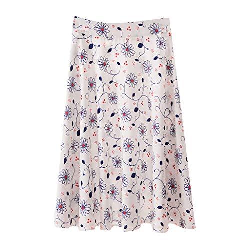 Women's Casual High Waist Pleated A-Line Midi Skirt with Pocket High Waist A Line Pleated Midi Skirt Longday