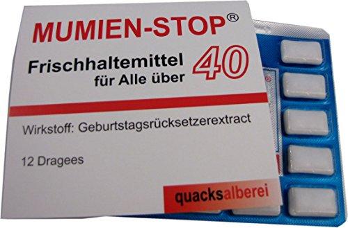 """quacksalberei Witzige Kaugummis\""""MUMIEN-STOP 40\"""" zum 40. Geburtstag"""