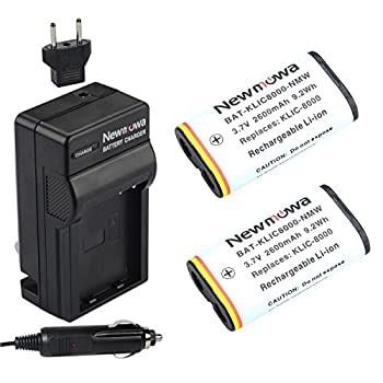 Newmowa KLIC8000 Replacement Battery  2-Pack  and Charger Kit for Kodak Z1012 is Z1015 is Z1085 is Z1485 is Z612 Z712 is Z812 is Z8612 is