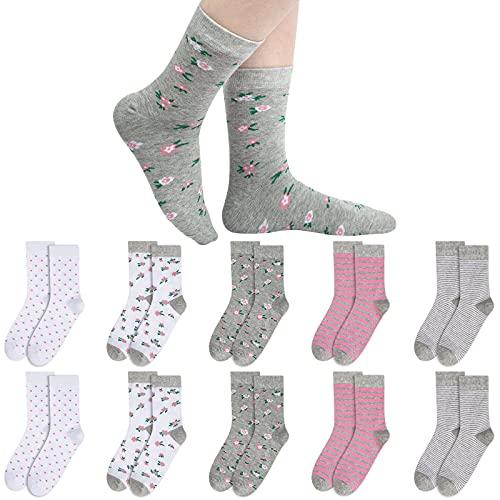 Chalier 10 Paar Damen Socken Süße Baumwoll Bunte Socken Mehrfarbig mit Streifen Punkte für Winter & Weihnachten